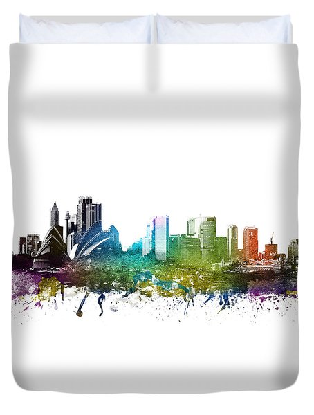 Sydney Cityscape 01 Duvet Cover by Aged Pixel