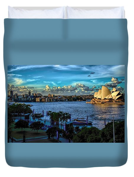 Sydney Harbor And Opera House Duvet Cover by Diana Mary Sharpton