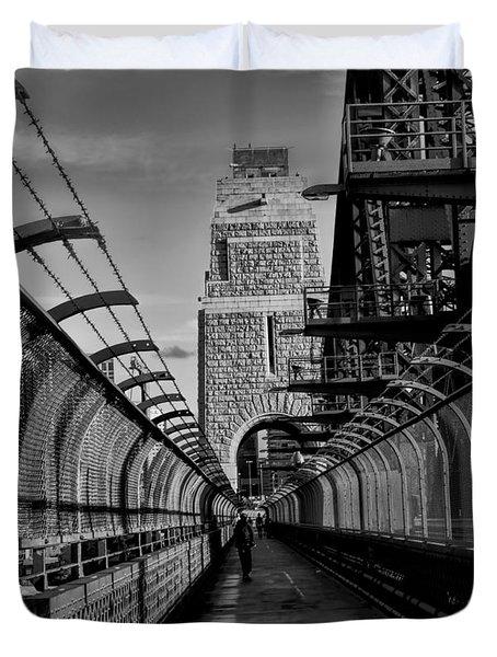 Sydney Harbor Bridge Bw Duvet Cover