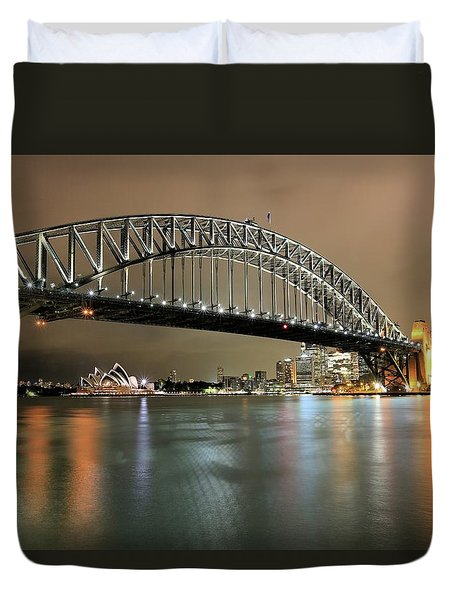 Sydney Harbour At Night Duvet Cover