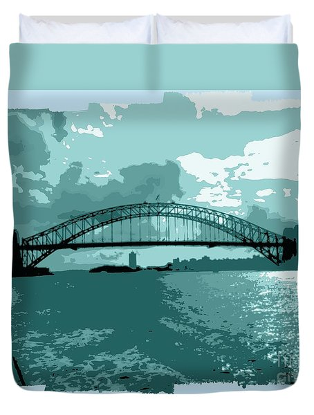 Sydney Harbour Fantasy In Blue Duvet Cover by Leanne Seymour