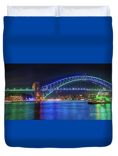 Sydney Harbour Green And Blue By Kaye Menner Duvet Cover