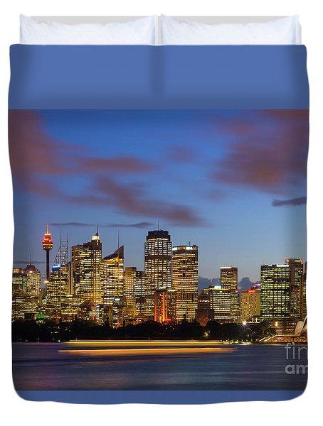 Sydney Harbour Sunset Duvet Cover