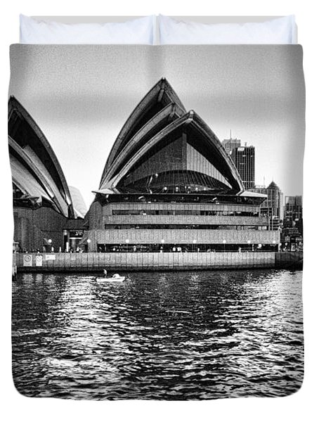 Sydney Opera House-black And White Duvet Cover