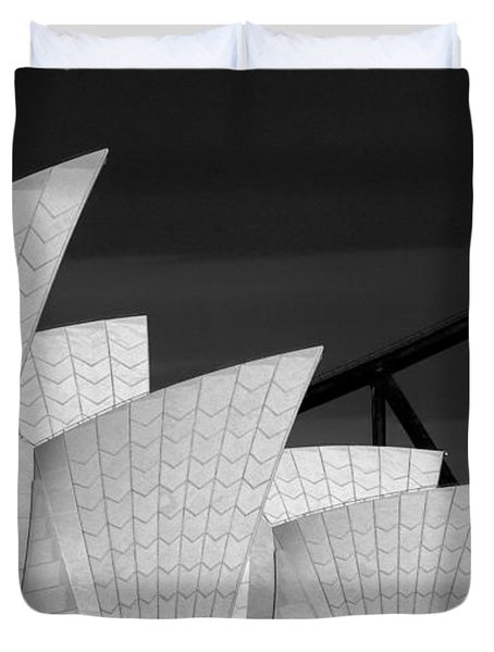 Sydney Opera House With Bridge Backdrop Duvet Cover by Avalon Fine Art Photography