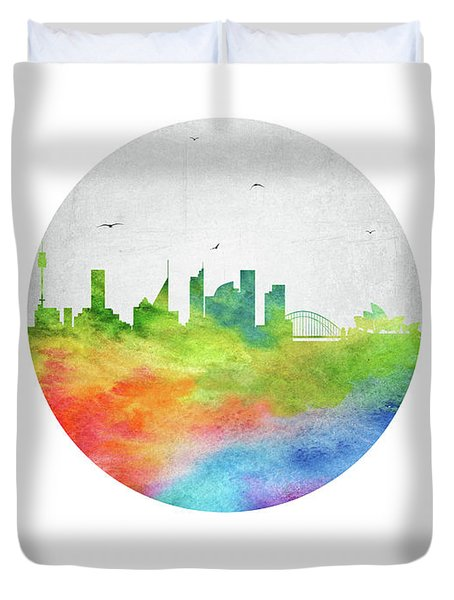 Sydney Skyline Ausy20 Duvet Cover by Aged Pixel