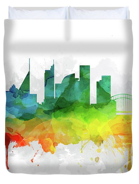 Sydney Skyline Mmr-ausy05 Duvet Cover by Aged Pixel