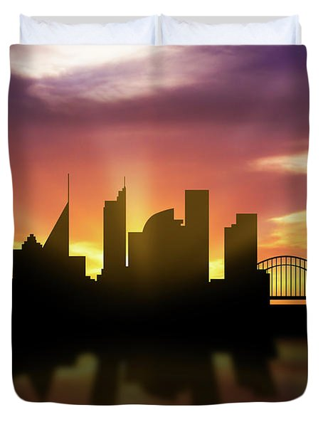 Sydney Skyline Sunset Ausy22 Duvet Cover