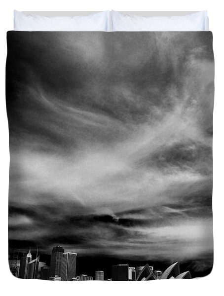 Sydney Skyline With Dramatic Sky Duvet Cover