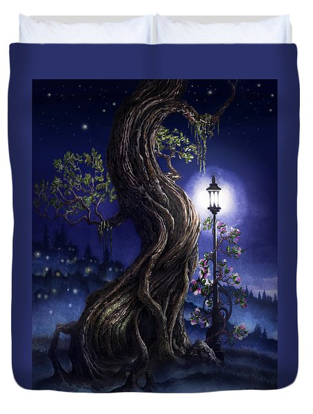 Sylvia And Her Lamp At Dusk Duvet Cover