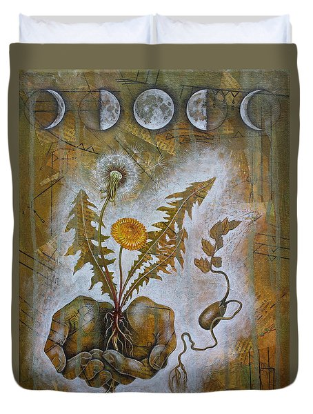 Duvet Cover featuring the mixed media Symbiosis by Sheri Howe