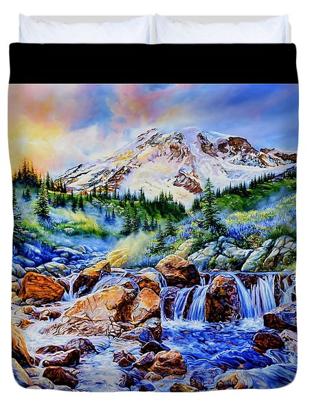 Duvet Cover featuring the painting Symphony Of Silence by Hanne Lore Koehler