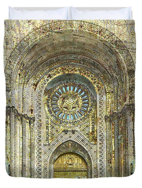 Duvet Cover featuring the mixed media Synagogue by Tony Rubino