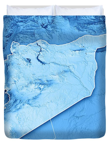 Syria Country 3d Render Topographic Map Blue Border Duvet Cover