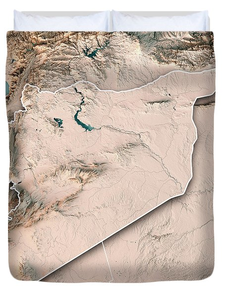 Syria Country 3d Render Topographic Map Neutral Border Duvet Cover