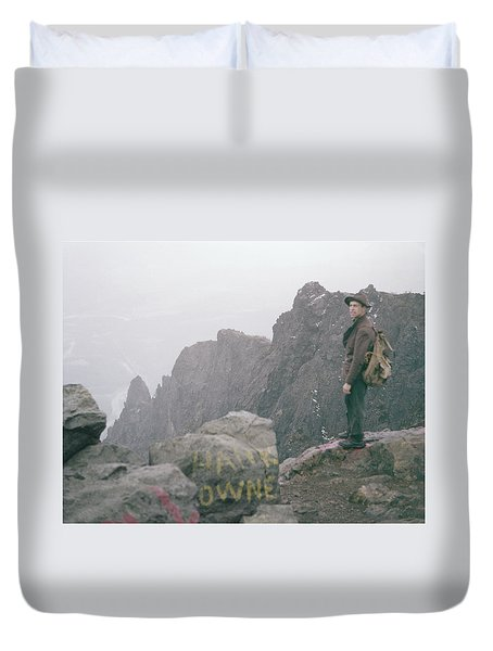 T-04701 Fred Beckey On Mt. Si 1958  Duvet Cover