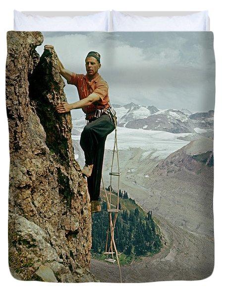 T-902901 Fred Beckey Climbing Duvet Cover
