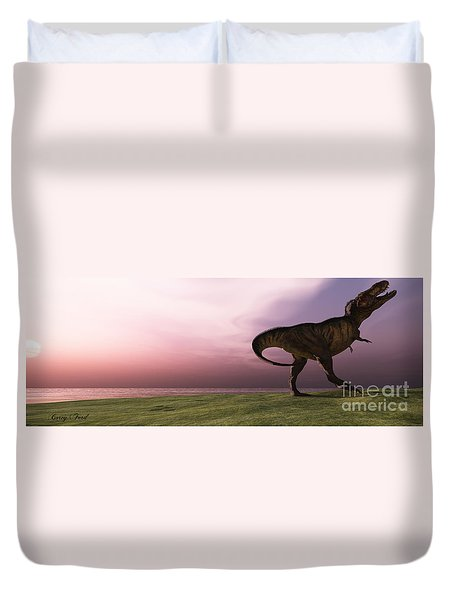 T-rex At Sunrise Duvet Cover by Corey Ford