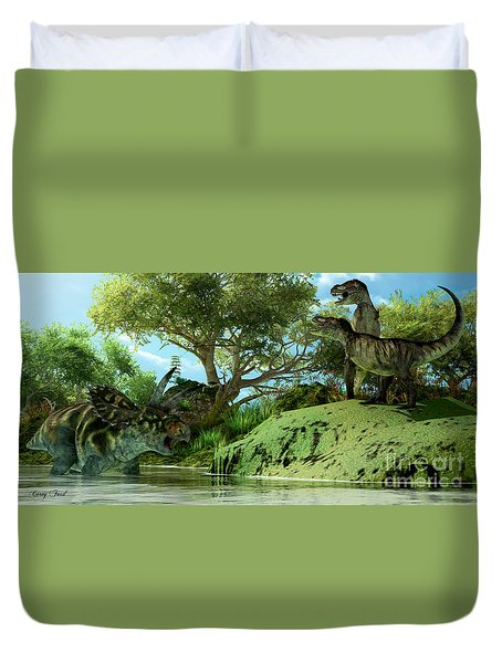 T-rex Defiance Duvet Cover by Corey Ford