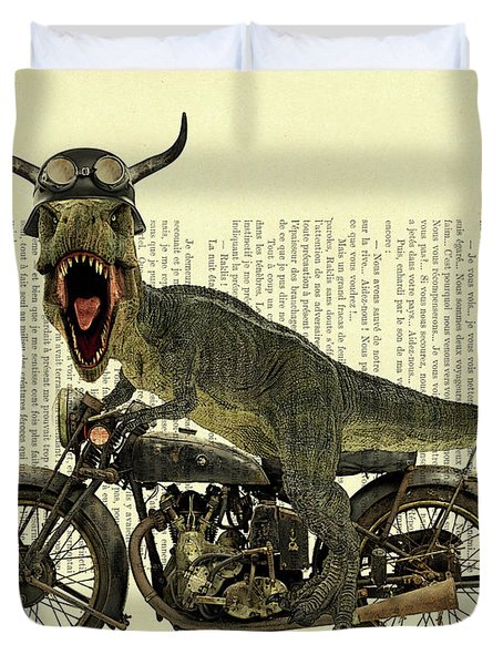 T Rex Riding His Harley, Dictionary Print Duvet Cover