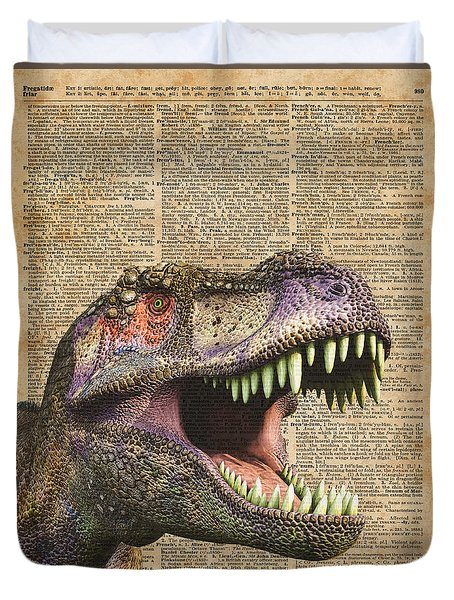 T-rex,tyrannosaurus,dinosaur Vintage Dictionary Art Duvet Cover
