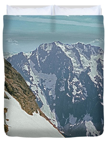 T04402 Beckey And Hieb After Forbidden Peak 1st Ascent Duvet Cover