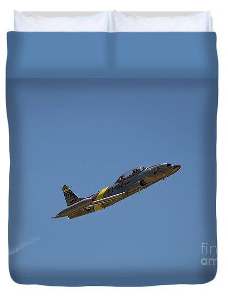 Duvet Cover featuring the photograph T33 In Flight by Andrea Silies