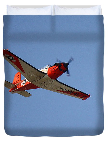T34 Mentor Trainer Flying Duvet Cover