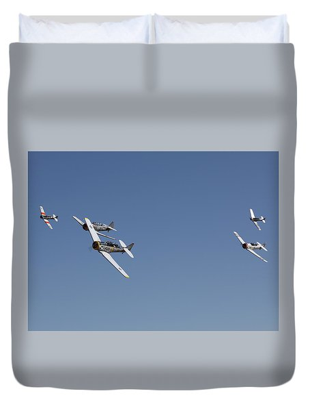 Duvet Cover featuring the photograph T6 Frenzy Over The Reno Desert by John King
