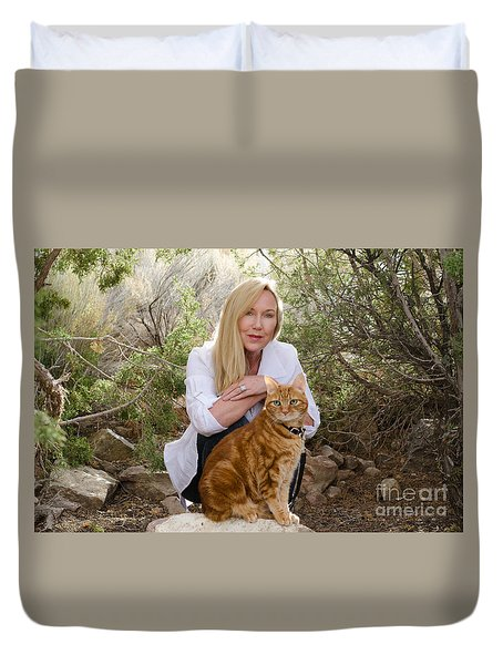 Tabasco And Molly On Meditation Rock Duvet Cover