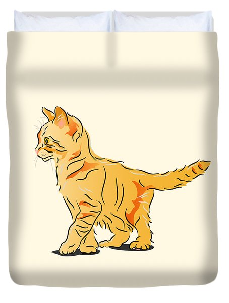 Duvet Cover featuring the digital art Tabby Kitten by MM Anderson