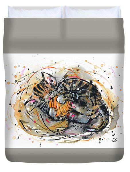 Duvet Cover featuring the painting Tabby Kitten Playing With Yarn Clew  by Zaira Dzhaubaeva