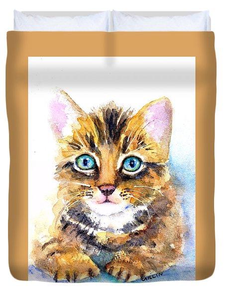 Tabby Kitten Watercolor Duvet Cover