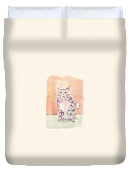 Duvet Cover featuring the painting Tabby by Terry Taylor