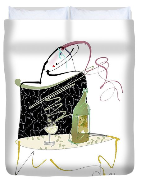 Duvet Cover featuring the mixed media Table For One by Larry Talley