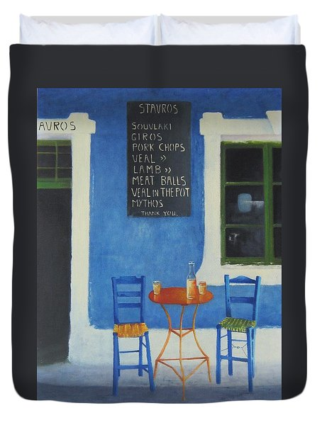 Table For Two Greece Duvet Cover by Joe Gilronan