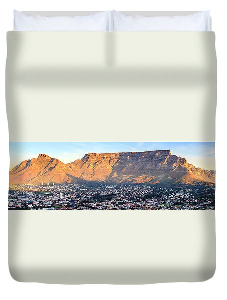 Duvet Cover featuring the photograph Table Mountain by Alexey Stiop