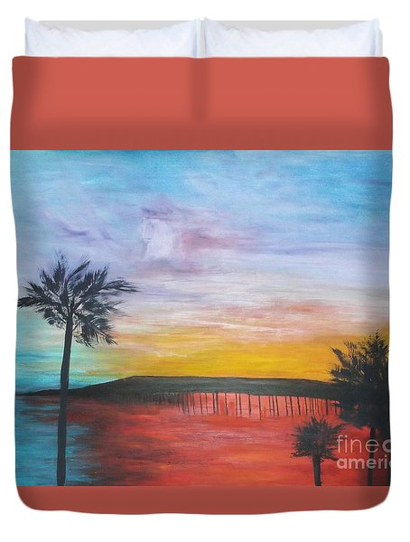 Table On The Beach From The Water Series Duvet Cover