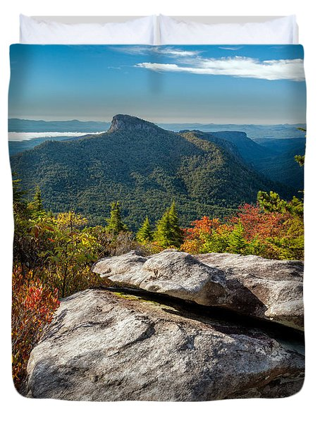Table Rock Fall Morning Duvet Cover