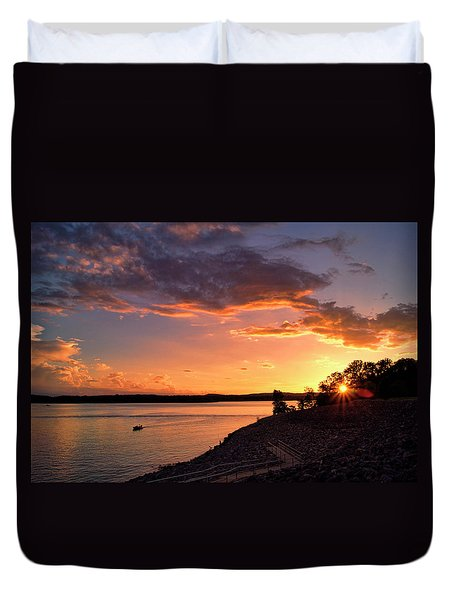 Duvet Cover featuring the photograph Table Rock Sunset by Cricket Hackmann
