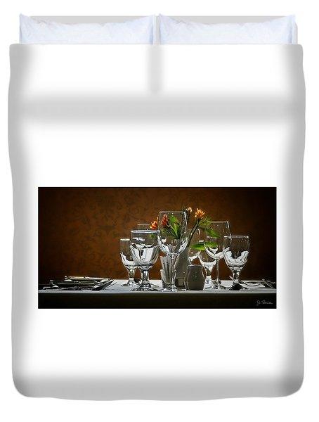 Duvet Cover featuring the photograph Table Setting by Joe Bonita