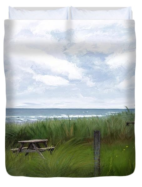 Tables By The Ocean Duvet Cover