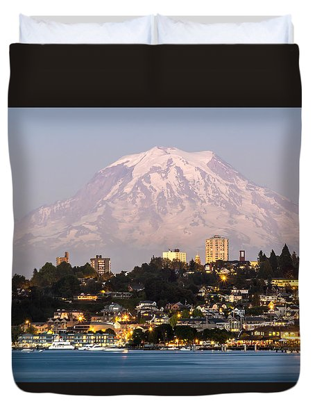 Duvet Cover featuring the photograph Tacoma And It's Gaurdian Mt Rainier by Rob Green