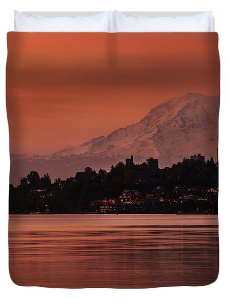 Tacoma Bay Mount Rainier Sunrise Duvet Cover