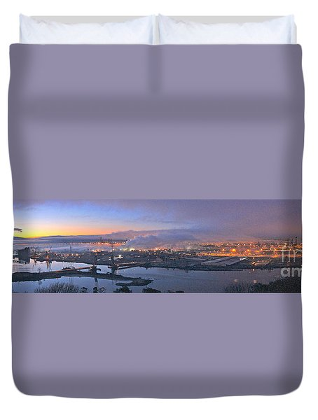 Tacoma Dawn Panorama Duvet Cover by Sean Griffin
