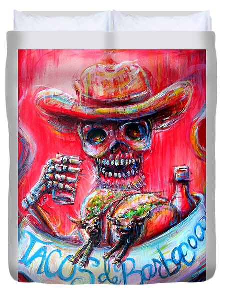 Duvet Cover featuring the painting Tacos De Barbacoa by Heather Calderon