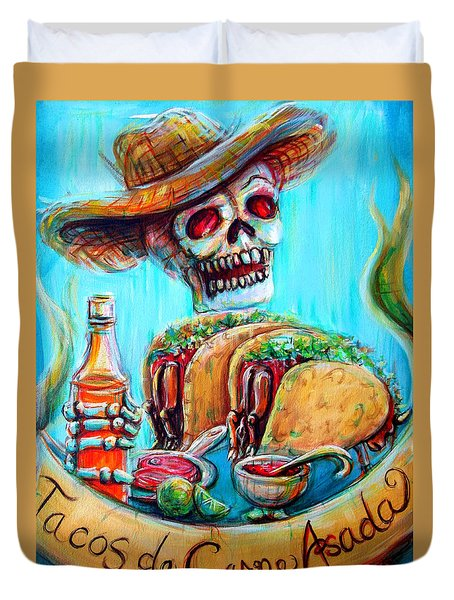 Duvet Cover featuring the painting Tacos De Carne Asada by Heather Calderon