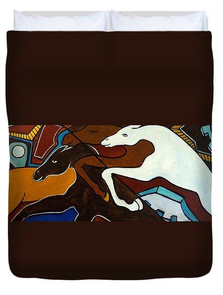 Taffy Horses Duvet Cover by Valerie Vescovi