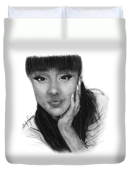 Ariana Grande Drawing By Sofia Furniel Duvet Cover