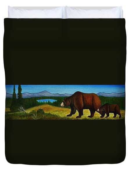 Taggart Lake Bears Duvet Cover by Lucy Deane